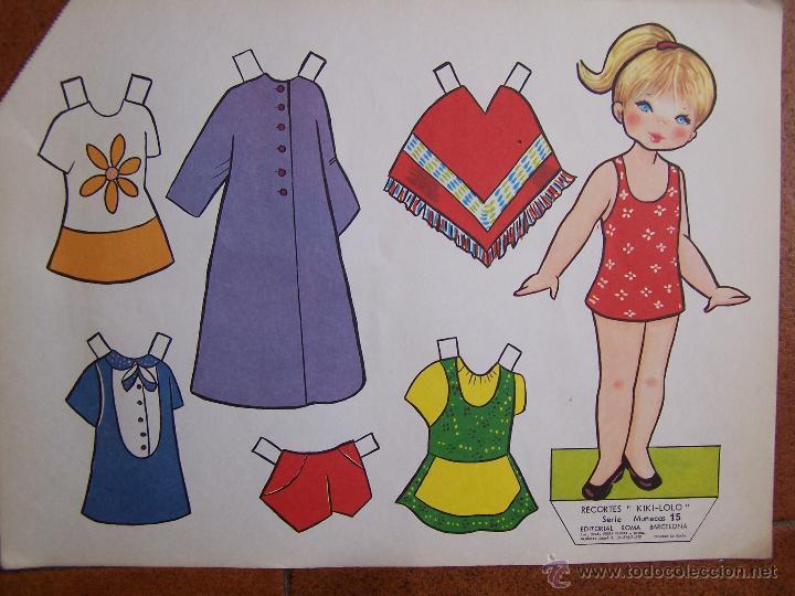 Coleccionismo Recortables: Lote de 4 Laminas recortables de muñecas, seriadas de la 13 a la 16 y fechadas 1970. D. 36 cm x 26 c - Foto 3 - 48699439