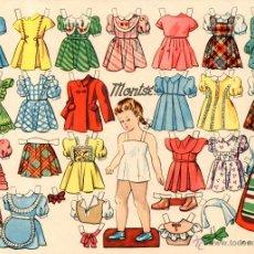 Coleccionismo Recortables: RECORTABLE MUÑECA CON VESTIDOS MONTSE AÑOS 1960 APROX RECORTABLES. Lote 49157675