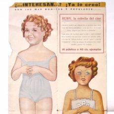 Coleccionismo Recortables: RECORTABLE SHIRLEY TEMPLE Y RUBY PUBLICIDAD EXCLUSIVAS MARGINO LA CORUÑA AÑOS 50 (RARO). Lote 50356887