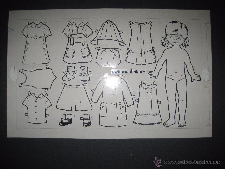 MAITE- RECORTABLES MUÑECA ORIGINAL A TINTA Y HOJA CON COLOREADO ORIGINAL -VER FOTOS - (V-3154) (Coleccionismo - Recortables - Muñecas)