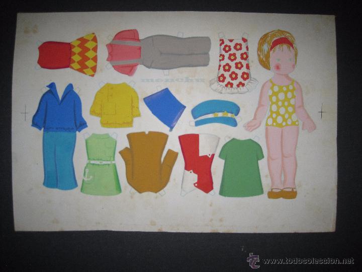 Coleccionismo Recortables: MENCHU- RECORTABLES MUÑECA ORIGINAL A TINTA Y HOJA CON COLOREADO ORIGINAL -VER FOTOS - (V-3155) - Foto 4 - 52032846