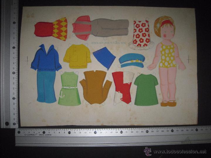 Coleccionismo Recortables: MENCHU- RECORTABLES MUÑECA ORIGINAL A TINTA Y HOJA CON COLOREADO ORIGINAL -VER FOTOS - (V-3155) - Foto 6 - 52032846