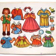 Coleccionismo Recortables: LAMINA RECORTABLES MUÑECAS DIBUJADO POR FLORES AÑOS 50. Lote 55124622