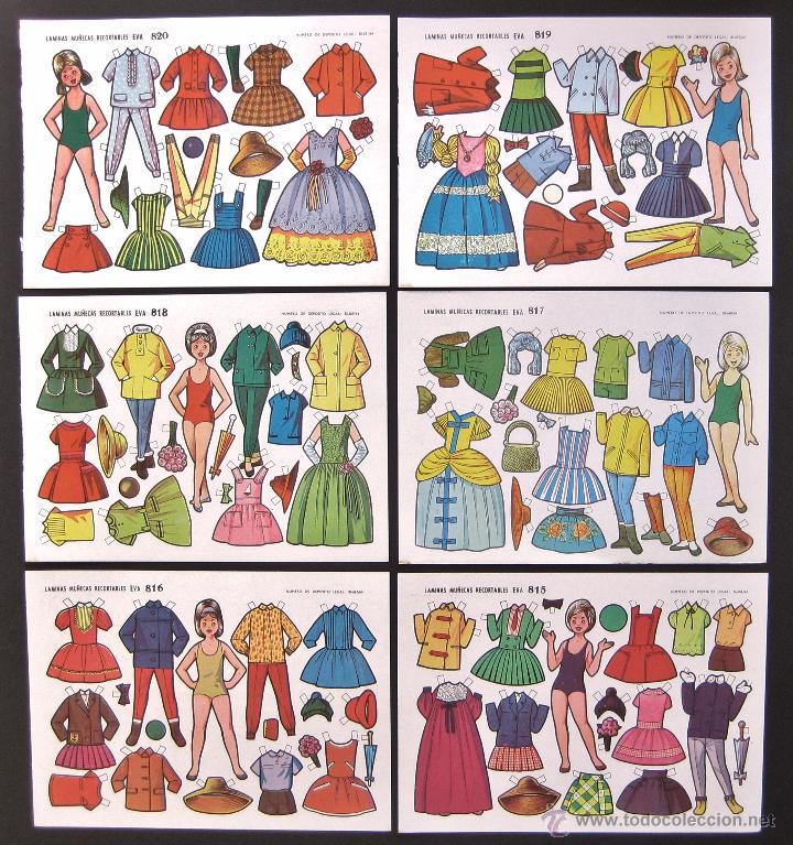 Coleccionismo Recortables: LOTE DE 10 LAMINAS RECORTABLES MUÑECAS EVA 2ª SERIE COMPLETA Nº 811 - 820 AÑO 1964 (TAMAÑO PEQUEÑO) - Foto 2 - 254362765