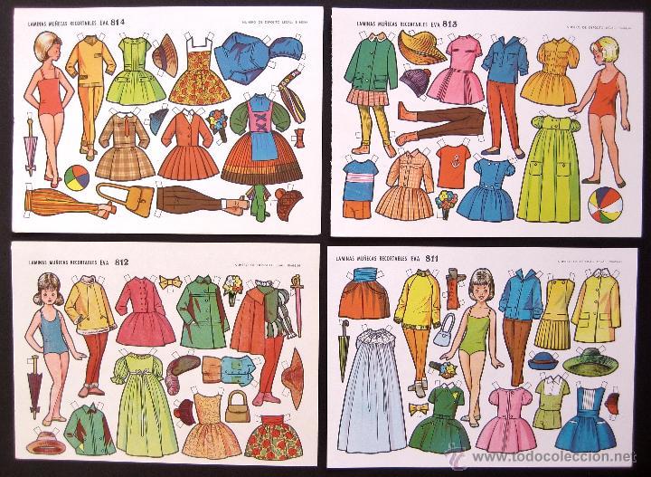 Coleccionismo Recortables: LOTE DE 10 LAMINAS RECORTABLES MUÑECAS EVA 2ª SERIE COMPLETA Nº 811 - 820 AÑO 1964 (TAMAÑO PEQUEÑO) - Foto 3 - 254362765