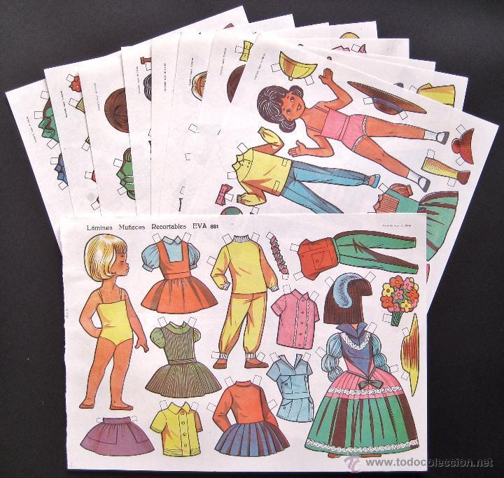 LOTE 10 LAMINAS RECORTABLES MUÑECAS EVA 1ª SERIE COMPLETA Nº 881 - 890 .1963 (TAMAÑO MEDIO - GRANDE) (Coleccionismo - Recortables - Muñecas)