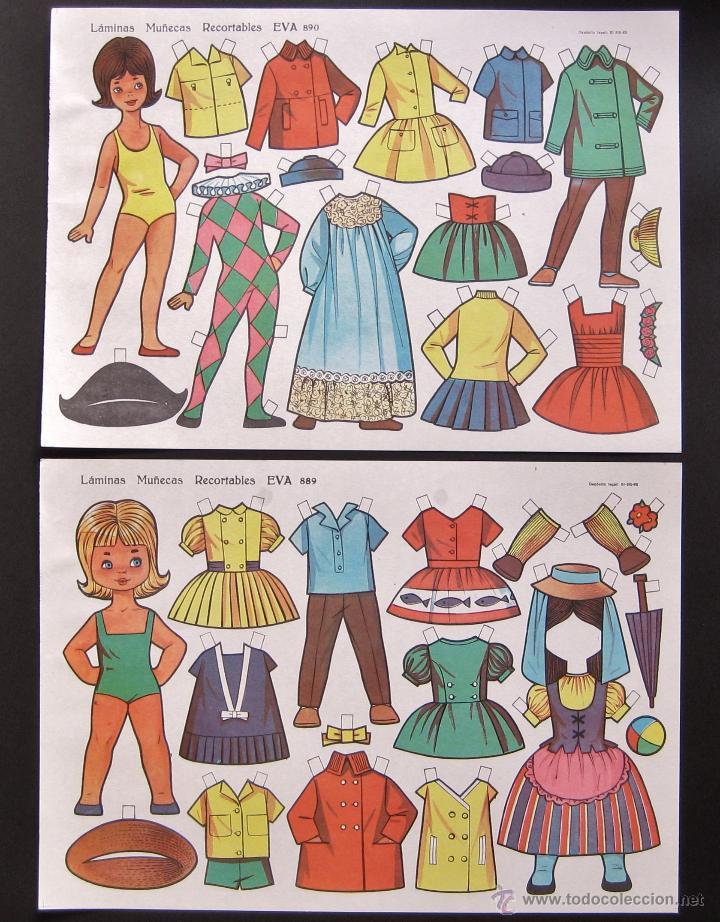 Coleccionismo Recortables: LOTE 10 LAMINAS RECORTABLES MUÑECAS EVA 1ª SERIE COMPLETA Nº 881 - 890 .1963 (TAMAÑO MEDIO - GRANDE) - Foto 2 - 53726477