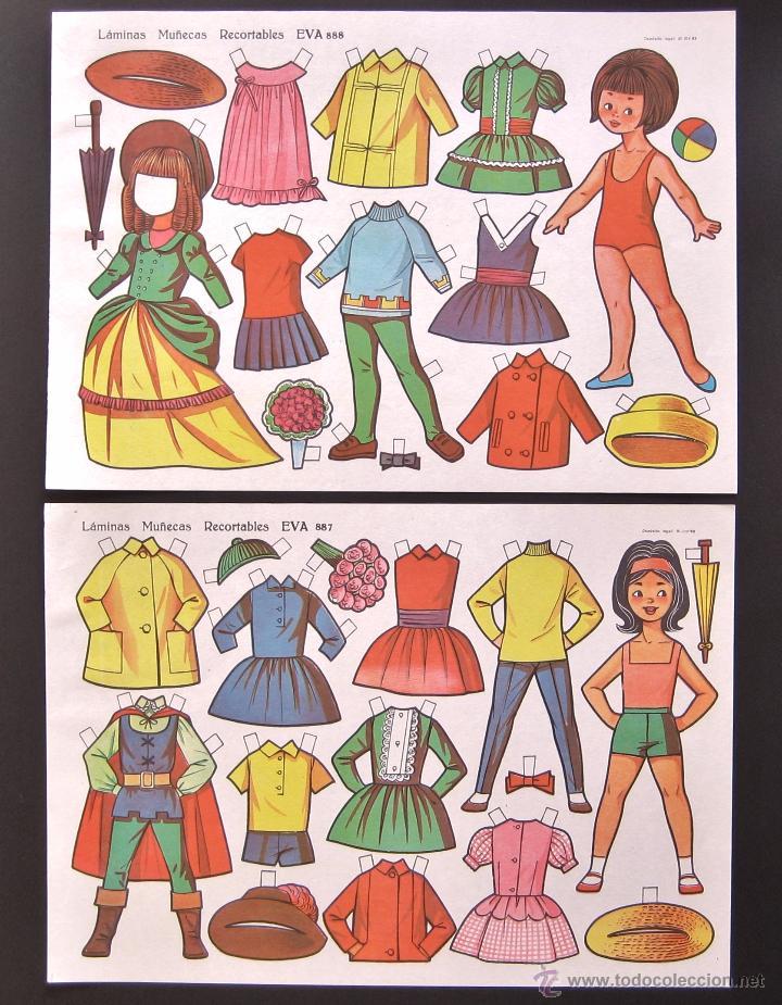 Coleccionismo Recortables: LOTE 10 LAMINAS RECORTABLES MUÑECAS EVA 1ª SERIE COMPLETA Nº 881 - 890 .1963 (TAMAÑO MEDIO - GRANDE) - Foto 3 - 53726477