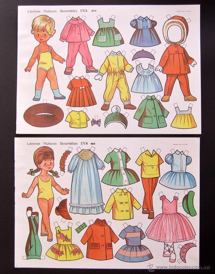 Coleccionismo Recortables: LOTE 10 LAMINAS RECORTABLES MUÑECAS EVA 1ª SERIE COMPLETA Nº 881 - 890 .1963 (TAMAÑO MEDIO - GRANDE) - Foto 4 - 53726477