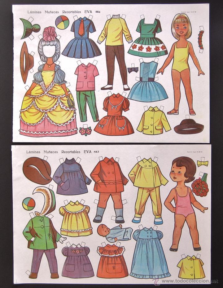 Coleccionismo Recortables: LOTE 10 LAMINAS RECORTABLES MUÑECAS EVA 1ª SERIE COMPLETA Nº 881 - 890 .1963 (TAMAÑO MEDIO - GRANDE) - Foto 5 - 53726477