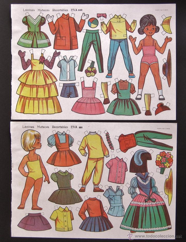 Coleccionismo Recortables: LOTE 10 LAMINAS RECORTABLES MUÑECAS EVA 1ª SERIE COMPLETA Nº 881 - 890 .1963 (TAMAÑO MEDIO - GRANDE) - Foto 6 - 53726477