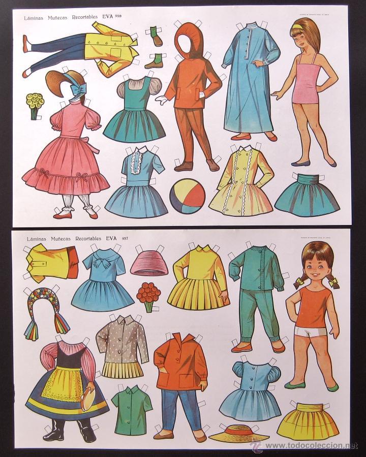 Coleccionismo Recortables: LOTE DE 10 LAMINAS RECORTABLES MUÑECAS EVA 1ª SERIE COMPLETA Nº 951 - 960 AÑO 1962 (TAMAÑO GRANDE) - Foto 3 - 150620278
