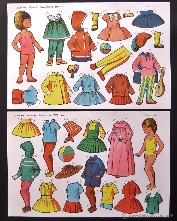 Coleccionismo Recortables: LOTE DE 10 LAMINAS RECORTABLES MUÑECAS EVA 1ª SERIE COMPLETA Nº 951 - 960 AÑO 1962 (TAMAÑO GRANDE) - Foto 4 - 150620278