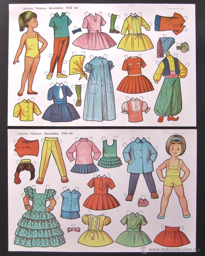 Coleccionismo Recortables: LOTE DE 10 LAMINAS RECORTABLES MUÑECAS EVA 1ª SERIE COMPLETA Nº 951 - 960 AÑO 1962 (TAMAÑO GRANDE) - Foto 5 - 150620278