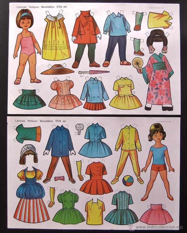 Coleccionismo Recortables: LOTE DE 10 LAMINAS RECORTABLES MUÑECAS EVA 1ª SERIE COMPLETA Nº 951 - 960 AÑO 1962 (TAMAÑO GRANDE) - Foto 6 - 150620278
