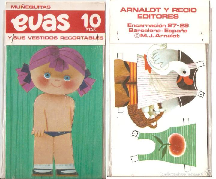 MUÑECA EVAS, CON 2 VESTIDOS. 10 X 18 CMS. . VELL I BELL (Coleccionismo - Recortables - Muñecas)