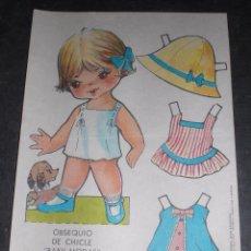Coleccionismo Recortables: MUÑECA RECORTABLE BABY MODAS REGALO CHICLE FIESTA 1973. Lote 57495962