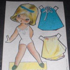 Coleccionismo Recortables: MUÑECA RECORTABLE BABY MODAS REGALO CHICLE FIESTA 1973. Lote 57495972