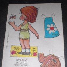 Coleccionismo Recortables: MUÑECA RECORTABLE BABY MODAS REGALO CHICLE FIESTA 1973. Lote 57495981