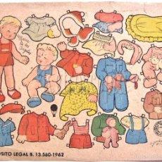 Coleccionismo Recortables: LAMINA RECORTABLE MUÑECAS ERNESTO Y Mª DE LOS ANGELES. ENRIQUETA BOMBON. EDITORIAL BRUGUERA AÑO 1962. Lote 59863136