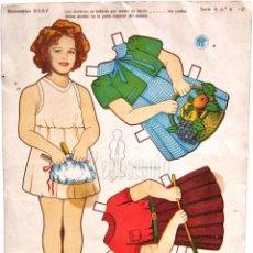 Coleccionismo Recortables: LAMINA RECORTABLE SHIRLEY TEMPLE. RECORTABLES BABY. SERIE A Nº 6 AÑOS 50. Lote 62551488