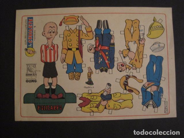 RECORTABLE CUBILETE - MUÑECO -POLICARPO -EDITORIAL GONG - ORIGINAL - NO COPIA - VER FOTOS -(V-7371) (Coleccionismo - Recortables - Muñecas)