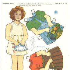 Coleccionismo Recortables: SHIRLEY TEMPLE VESTIDOS RECORTABLE TROQUELADO RECORTABLES BABY SERIE A Nº 6. Lote 97721071