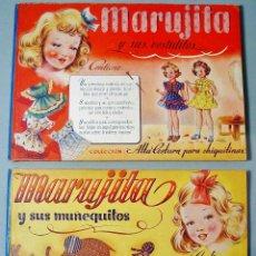Coleccionismo Recortables: 2 LIBROS MARUJITA. SUS VESTIDITOS Y SUS MUÑEQUITOS. ALTA COSTURA CHIQUITINAS. MOLINO. AÑOS 50.. Lote 112882119