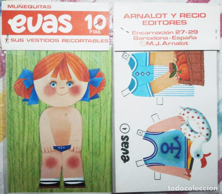 MUÑECA RECORTABLE EVAS, MUÑECA Y DOS VESTIDOS. 9 X18 CM. DE. ARNALOT. - VELL I BELL (Coleccionismo - Recortables - Muñecas)