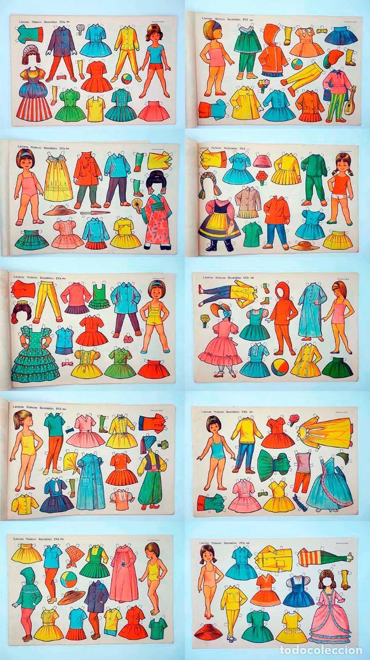 LÁMINAS MUÑECAS RECORTABLES EVA 951 A 960. COMPLETA (NO ACREDITADO) VASCO AMERICANA, 1962. OFRT (Coleccionismo - Recortables - Muñecas)