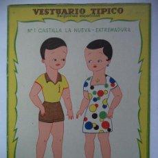 Coleccionismo Recortables: VESTUARIO TIPICO Nº 1.CASTILLA LA NUEVA-EXTREMADURA. Lote 115218471