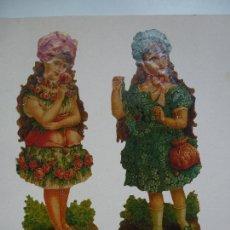 Coleccionismo Recortables: LÁMINA CON TRES RECORTABLES ANTIGUOS. YA RECORTADOS Y PEGADOS.. Lote 120841427