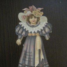 Coleccionismo Recortables: MUÑECA TROQUELADA - FINALES SIGLO XIX - PUBLICIDAD CHOCOLATE JUNCOSA -VER FOTOS- (V-14.623). Lote 122580839