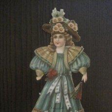 Coleccionismo Recortables: MUÑECA TROQUELADA - FINALES SIGLO XIX - PUBLICIDAD CHOCOLATE JUNCOSA -VER FOTOS- (V-14.624). Lote 122580995
