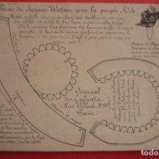 Coleccionismo Recortables: ANTIGUO RECORTABLE FRANCÉS SIGLO XIX. SOMBRERO PARA MUÑECA MODELO 'WATTEAU' TAMAÑO 15X21,5 CM.. Lote 132036322
