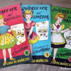 Coleccionismo Recortables: CASA DE MUÑECAS - Nº 1, 3 Y 4 - CUADERNO DE RECORTABLES - ILUSTRADO POR SABATÉ / 1962. Lote 143994278