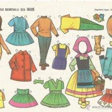 Coleccionismo Recortables: == PN06 - LAMINA MUÑECAS RECORTABLES EVA 805 - 17,5 X 12,5 CM. AÑOS 60. Lote 151986234