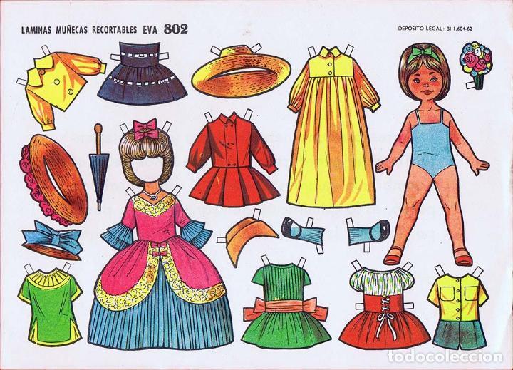 Coleccionismo Recortables: RECORTABLES MUÑECAS EVA 802 A 820 (SALVO 817). LOTE DE 18 LÁMINAS (No Acreditado) 1962. OFRT - Foto 3 - 280672028