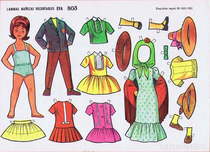 Coleccionismo Recortables: RECORTABLES MUÑECAS EVA 802 A 820 (SALVO 817). LOTE DE 18 LÁMINAS (No Acreditado) 1962. OFRT - Foto 4 - 280672028