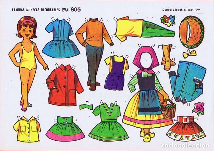 Coleccionismo Recortables: RECORTABLES MUÑECAS EVA 802 A 820 (SALVO 817). LOTE DE 18 LÁMINAS (No Acreditado) 1962. OFRT - Foto 6 - 280672028