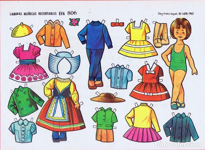 Coleccionismo Recortables: RECORTABLES MUÑECAS EVA 802 A 820 (SALVO 817). LOTE DE 18 LÁMINAS (No Acreditado) 1962. OFRT - Foto 7 - 280672028