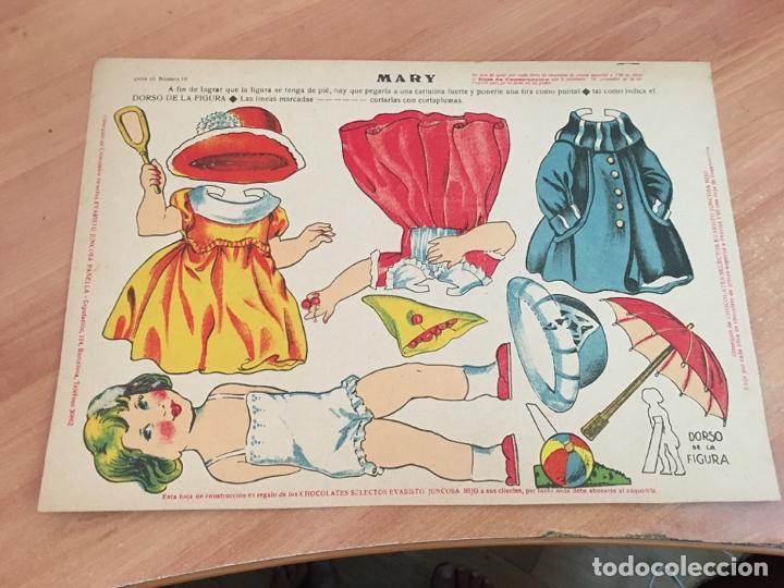 MARY, RECORTABLE MUÑECA CHOCOLATE EVARISTO JUNCOSA HIJO. HOJA 33 X 23 CM . MUY RARO (AB-1) (Coleccionismo - Recortables - Muñecas)