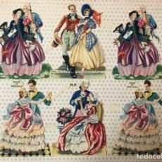 Coleccionismo Recortables: LAMINA COMPLETA CROMOS TROQUELADOS PAREJAS MADE IN ENGLAND MP, MUCHO BRILLO Y RELIEVE. Lote 175957025