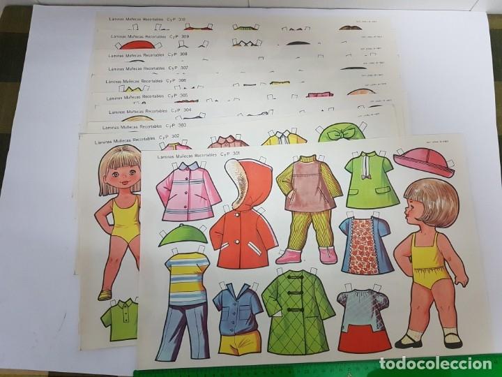 10 LAMINAS DIFERENTES MUÑECAS RECORTABLES / TAMAÑO GIGANTE 43 X 28 CMS./ ORIGINAL 1971 / NUEVO!!! (Coleccionismo - Recortables - Muñecas)