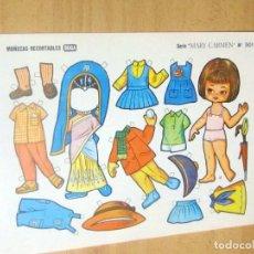Coleccionismo Recortables: MUÑECAS RECORTABLES BOGA, SERIE MARY CARMEN, LOTE 11 RECORTABLES DIFERENTES . Lote 186173092