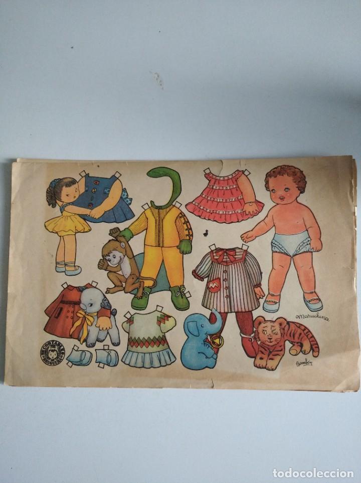 ANTIGUA LÁMINA DE MUÑECAS RECORTABLES DE ENRIQUETA BOMBÓN ED BRUGUERA ORIGINAL (Coleccionismo - Recortables - Muñecas)