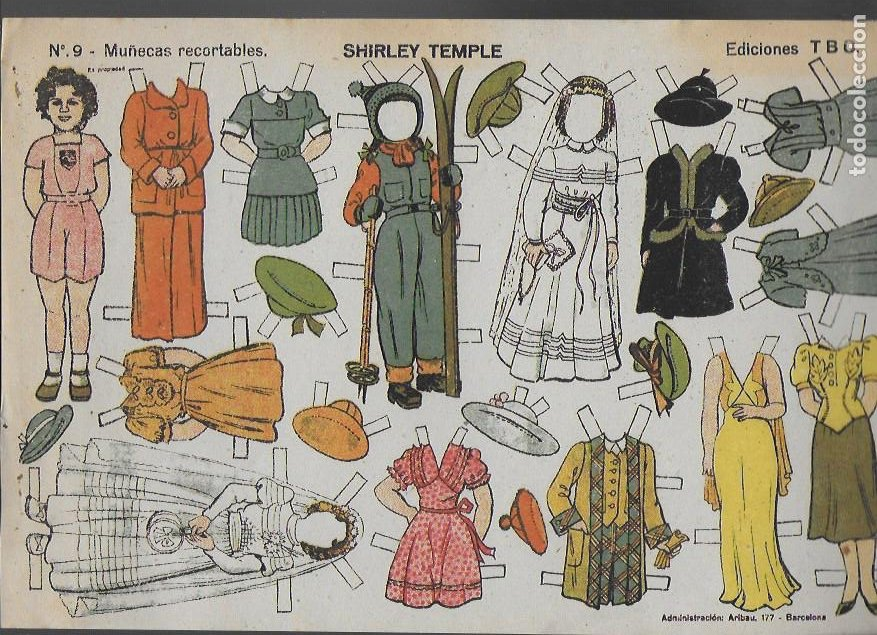 SHIRLEY TEMPLE-Nº 9 MUÑECAS RECORTABLES. EDICIONES TBO. 22X32 CM. (Coleccionismo - Recortables - Muñecas)