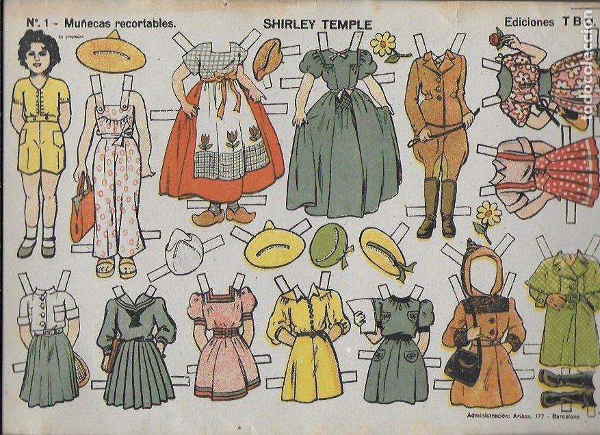 SHIRLEY TEMPLE Nº 1 MUÑECAS RECORTABLES .EDICIONES TBO. 22X32 CM. (Coleccionismo - Recortables - Muñecas)