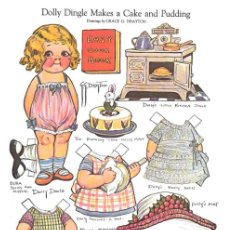 Coleccionismo Recortables: RECORTABLE. DOLLY DINGLE MAKES A CAKE AND PUDDING. GRACE G. DRAYTON.. Lote 210596012