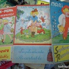 Colecionismo Recortáveis: 1940 MARI-PEPA MAGNIFICO LOTE 3 SUPLEMENTOS RECORTABLES Y BUEN LOTE DE VESTIDOS SOMBREROS MUY RARO. Lote 253256440